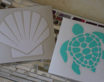 Sea Turtle or Scallop Shell Vinyl Decal - Beach Decal - Shell Decal - Car Decal