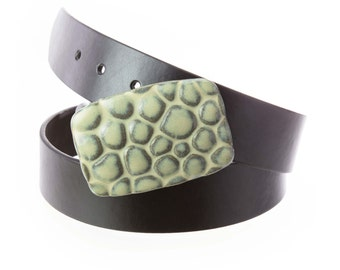 Stoneware pottery belt buckle in sage green glaze. Pebbles texture   / Buckle Only->>BELT SOLD SEPARATELY / pottery belt buckle