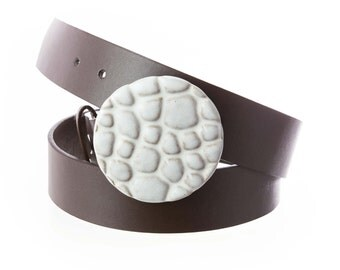 Stoneware pottery belt buckle in limestone white glaze. Pebbles Texture  /Buckle Only-->>BELT SOLD SEPARATELY / pottery belt buckle