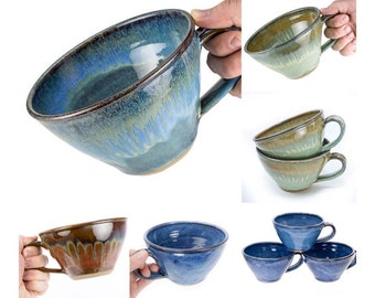 24oz Soup Mug your choice of Glaze. MADE TO ORDER (6 weeks) Wheel thrown stoneware // Chili Bowl // Latte Mug // Soup bowl //