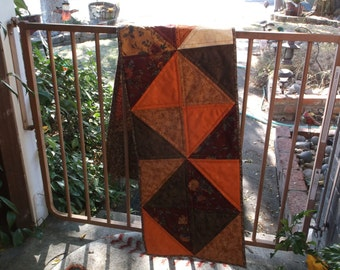 Fall triangles quilted table runner handmade autumn runner