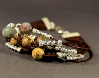 Leather Bracelet-Brown Leather Bracelet-Women Bracelet-Beaded Bracelet-Natural Gemstones Bracelet-Gifts-Sterling Silver Bracelet