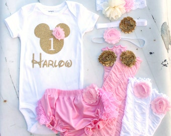 Baby Girl 1st or 2nd Minnie Mouse Birthday Personalized Set.  Minnie Head & Name Bodysuit, Headband, Diaper Cover, Leg Warmers Disney Style