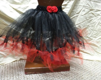 Black and Red Princess Tutu with Detachable Hair clip Bow