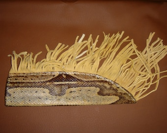 Knife Sheath Real Python Snake Skin Handcrafted Tanned with Deer Hide Fringes Free Shipping
