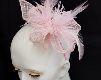 Pale pink sinamay fascinator headband with toning feathers wedding races baby pink