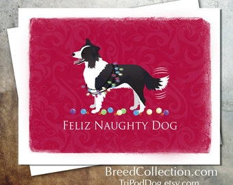 Border Collie Herding Dog Christmas Card from the Breed Collection - Digital Download  Printable