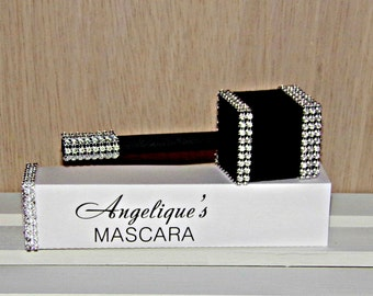 Paper Party Favor, Personalized Black and White Mascara Keepsake Favor Box, Original Design