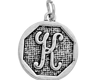 "1 or 4 pcs. Antique Silver LARGE Letter ""K"" Alphabet Letter Charm Pendant -  23mm x 20mm - Stamped Design"