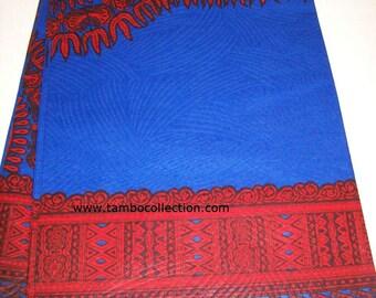 2 Yards Blue with Red Dashiki fabric per panel/ Dashiki clothing/ African Dashikis/ Dashiki Tops/ Dashiki shirt fabric/ Dashiki panels
