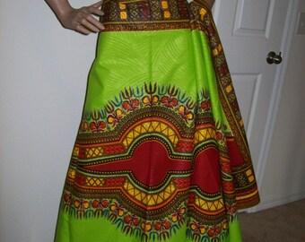 2 yards Lime Green color dashiki fabric per panel/ Dashiki clothing/ Accessories/ Angelina fabric/ Kitenge fabric/ Java print