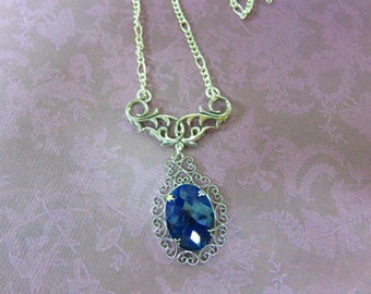 Sapphire Necklace - Natural Dark Blue Sapphire & Sterling Silver Necklace - September Birthstone Necklace