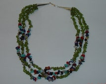 Vintage Native American New Mexico Southwestern Triple Strand Necklace of Peridot Nuggets w Lapis, Coral, Turquoise, Agate & More