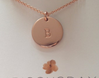 Rose gold necklace, initial necklace, pink gold necklace, monogram necklace, celebrity style, letter necklace, letter charm, large disc