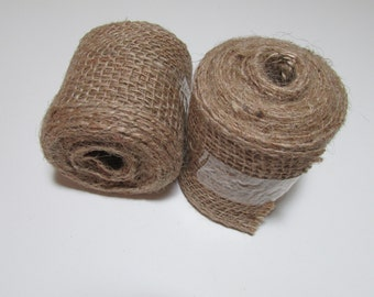 Burlap ribbon, 2.5 inch, choice Red or Natural, Christmas accent, bows, decorations, 5 yard roll