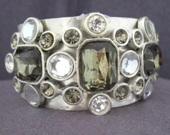 Chicos Cuff Bracelet, Rhinestone Cuff, Chicos Jewelry, green rhinestone bracelet, signed bracelet, silvertone cuff, chunky cuff