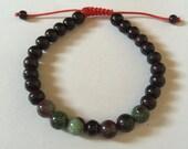 Tibetan mala rosewood Wrist mala bracelet with blood stones