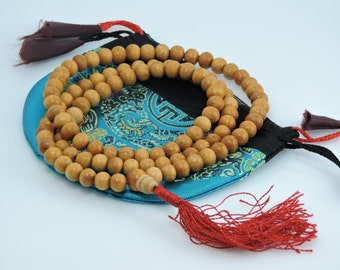 Tibetan mala Wood bead mala 108 beads with red tassel with silk pouch