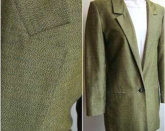 1980s Michael Kors lurex sharkskin metallic gold blazer tuxedo jacket shoulder pads dynasty 80s vintage Adaria