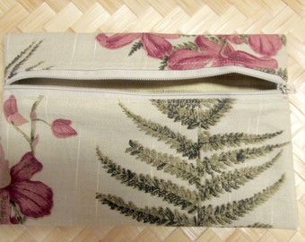 8 x 5.25, Zippered, Girl's, Teens, Bags & Purses, Cosmetic Pouch, Reddish Flowers, Green Ferns, Tan Upholstrey fabric, Gold lining