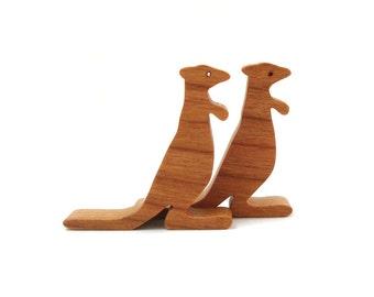 Wood Kangaroo Rat Toys Waldorf  Miniature Noah's Ark Animals Wood Animal Toy Miniature Kangaroo Rat Figurine Cherry