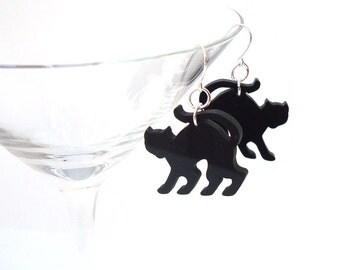 Halloween Spooky Black Cat Earrings Feline Dangle Earrings Kitty Cat Jewelry Halloween Jewelry Halloween Accessory Acrylic