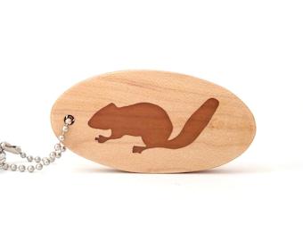 Chipmunk Key Chain, Woodland Animal Keychain, Chipmunk Key Ring, Scroll Saw Wood Key Fob, Cherry