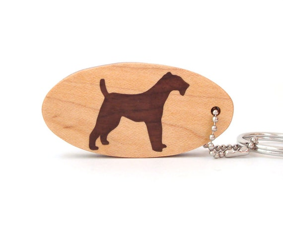 Airedale Terrier Dog Key Chain Wood Scroll Saw Dog Breed Key Ring Airedale Terrier Key Fob Walnut