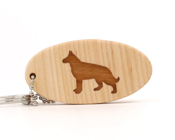 Wood German Shepherd Key Chain Wooden Dog Key Ring Pet Key Chain German Shepherd Dog Accessories Scroll Saw Dog Breed Key Fob Cherry
