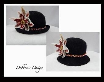 Women's Handmade Cloche Hat- 481 NEW Women's Wool Felted Cloche Hat, Vintage, Accessories, Hat, Fall-Winter, cloche felt hat, Downton abbey