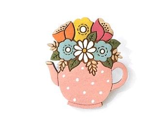 Flowers in a teapot brooch ~ hand painted laser cut brooch