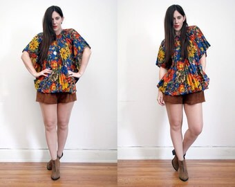 Vintage Floral Pleated Boho Cape Floral Poncho Blouse Tunic Top