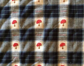 Tartan and toadstools- woven 100% cotton
