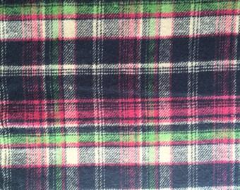 Pink/green/navy tartan -woven 100% cotton - blanket, shirting fabric