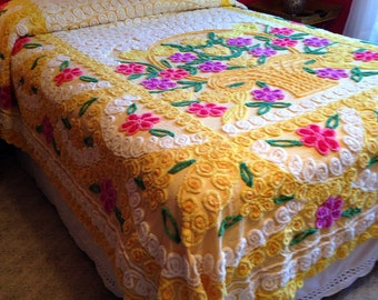 Vintage Bright Yellow Chenille Bedspread with Pink Flowers Cottage Style