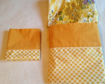 Vintage Set of Gold Check Twin Size Sheets with Floral Fitted Sheet