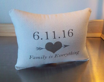 Personalized date pillow cotton anniversary gift canvas throw pillow couples gift custom wedding gift neutral love quote cushion home decor