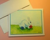 "EASTER BUNNY CARD, Original Handmade Watercolor (""Happy Easter"" Inside)"