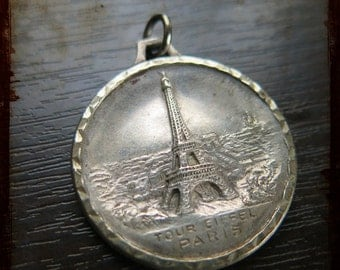 Antique French Silver Paris Tower Eiffel and Champs Elysees Arc of Triumph Medal - Jewelry devotion pendant from France