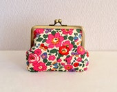 Retro floral coin purse - red, pink, Liberty, Betsy, frame purse, clasp purse