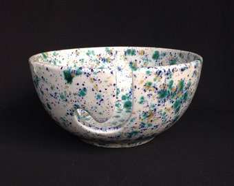 Ceramic Yarn Bowl - Hand Painted Pottery Knitting Bowl - White Blue Green Gold - Ready to Ship