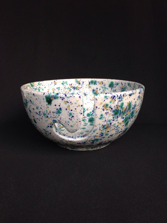 Ceramic Yarn Bowl Hand Painted Pottery Knitting Bowl White