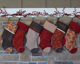 Pick Any 6 Plush Stockings.  Set of SIX Personalized Christmas Stockings with Embroidered Name Tags.  SALE.
