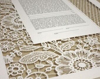 "LACE  ""katan"" papercut ketubah / wedding vows"