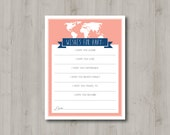 INSTANT DOWNLOAD - Adventure Awaits Baby Shower - Girl - Coral and Navy - Printable Wish Card