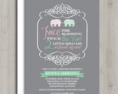 Twin Baby Shower Invitation - Elephants - Pink and Mint Green - Printable