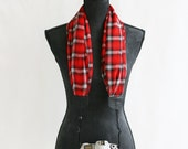 red plaid chiffon scarf camera strap