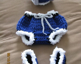 Little Prince crown, pant & boots set Royal Blue crochet newborn size photo prop / costume