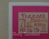 New Baby Birth Announcement Gift Hot Pink Orange Canvas Birth Statistics Wall Hanging Subway Art Typography 8 X 10