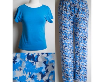 Cozy Warm Handmade Blue Camouflage Print Flannel Pyjamas with Bamboo Top